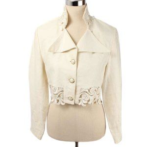 LAVANTINO Cream Linen Lace Trim Crop Swing Blazer